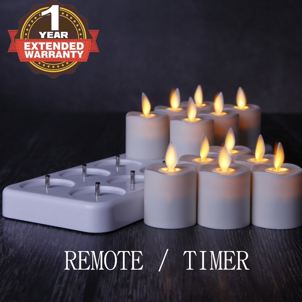 NONNO&ZGF Rechargeable Flameless Votives Moving Flame Wick LED Tealight Candles with Charging Base and Remote Control, Set of 12 by NONNO&ZGF