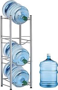 Nandae Water Cooler Jug Rack, 4-Tier Heavy Duty Water Bottle Holder Storage Rack for 5 Gallon Water Dispenser, Save Space (4-Tier, Silver)