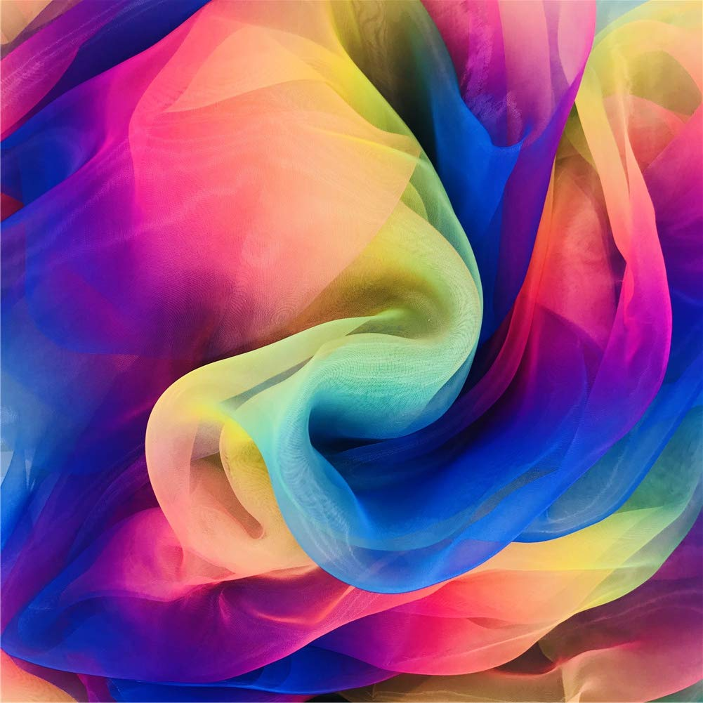 Organza Fabric Rainbow Multicolored Tutu Voile for Organza Bags, Dress, Wedding, Home Decorations,16 Feet by 54 Inch DIY Craft Supplies