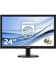 "Philips Monitor 243V5LHSB Gaming Monitor per PC Desktop 23.6"" LED Full HD, 1920 x 1080, 250 cd/m², 1 ms, HDMI, DVI, VGA, Attacco VESA, Nero"