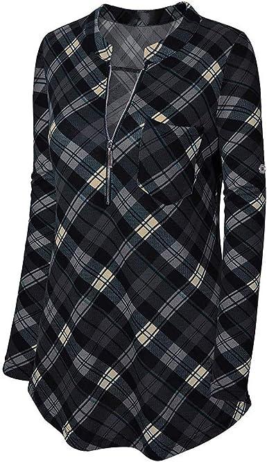 KEERADS Women Sweatshirt Camisa a Cuadros con Cuello en V y ...