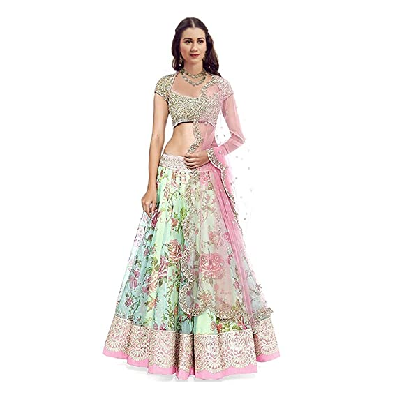 Florence Green Art Silk Embroidered Lehenga Choli