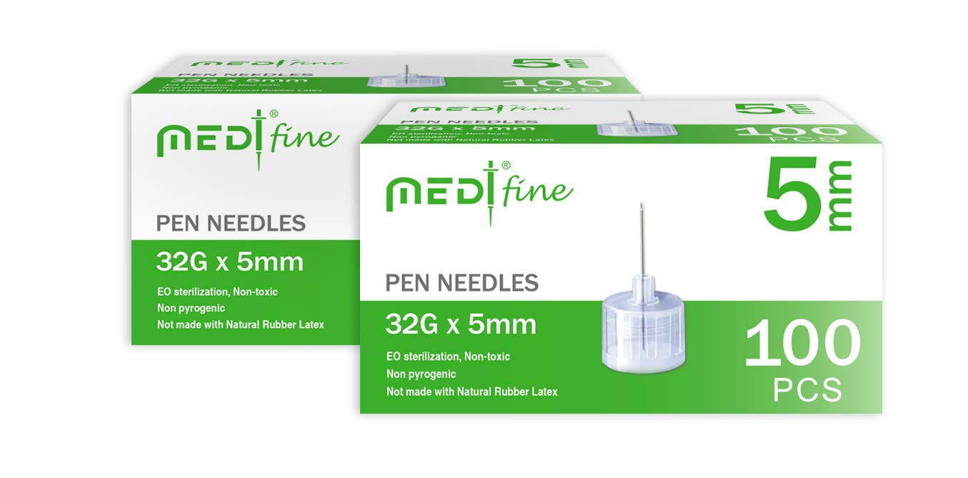 MedtFine Insulin Pen Needles 32G 5mm(3/16'') 200 Pieces (2x100) by MediFine