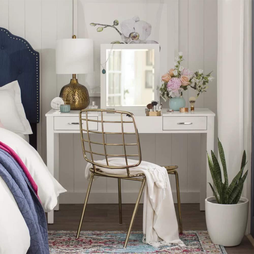 Alveare Home Aimee Vanity Desk Makeup Dressing Table, WHITE