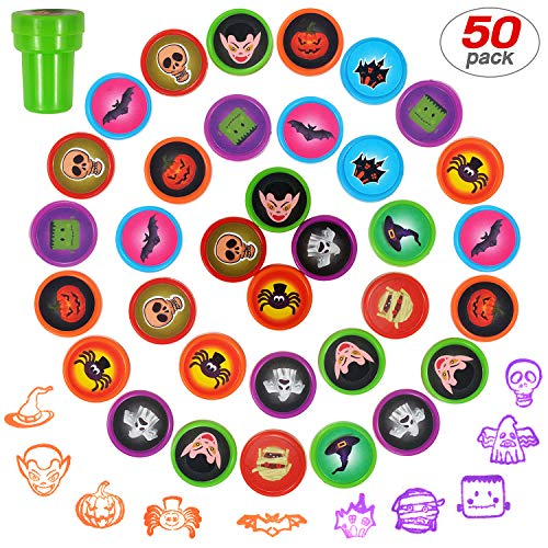 Yo-fobu 50 Pieces Funny Stamps Self-Ink Stamps Assorted Stamps for Kids for Party Favors School Prizes with Storage Bag for Free -