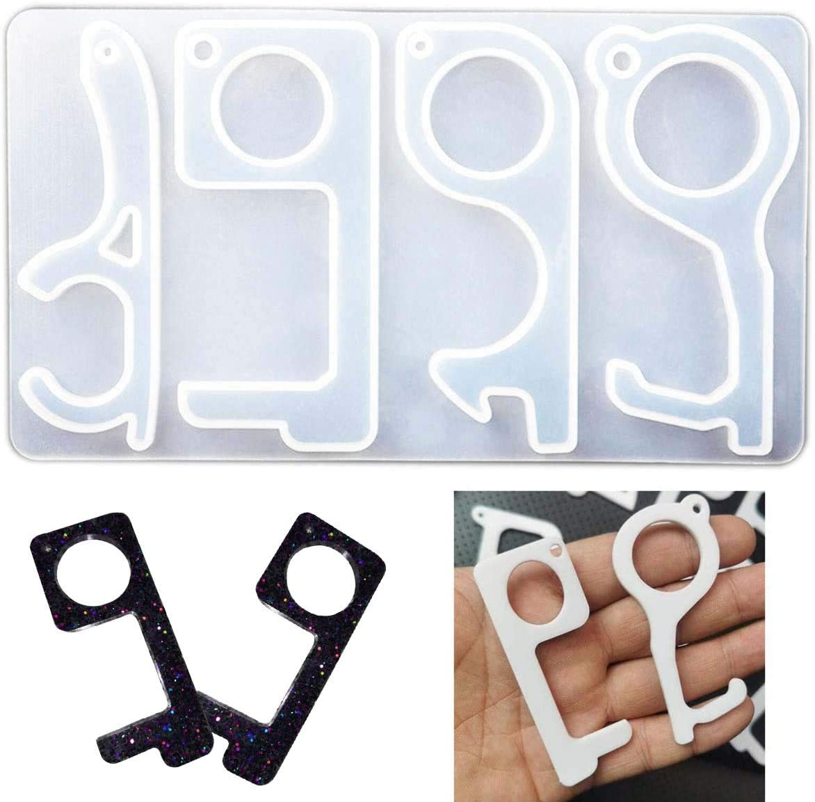 Door Opener Tool Resin Silicone Molds,No Touch Door Handles Hand Free Key Tool Mold Epoxy Resin DIY Touchless Keychain