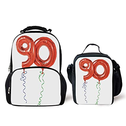 IPrint Schoolbags Lunch Bag90th Birthday DecorationsFlying Balloons Party Objects Curly Swirled Ribbons
