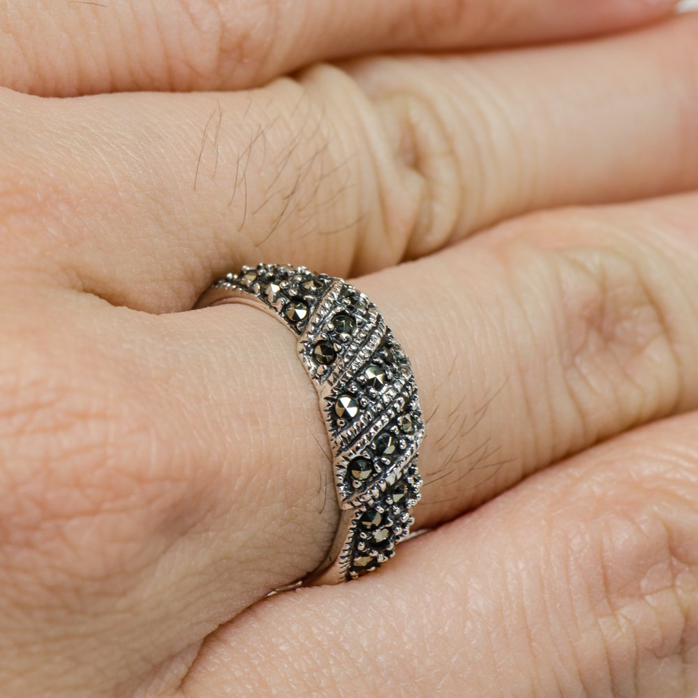 Caratera Fine Jewelry Vintage Marcasite Flowing Trinity Ring 925 Silver by Caratera Fine Jewelry (Image #2)