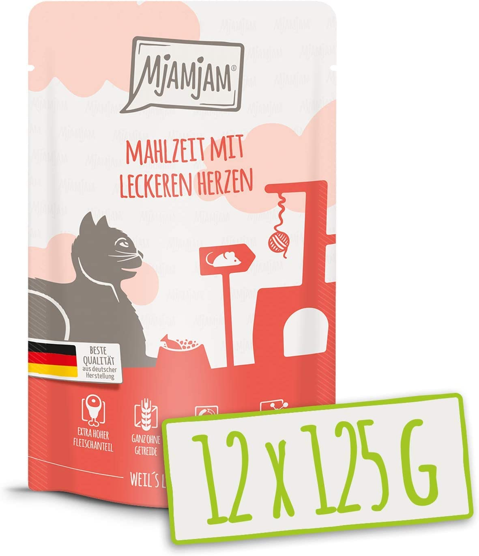 MjAMjAM - Pienso acuoso para Gatos - Comida con sabrosos Corazones - Sin Cereales - Pouches 12 x 125 g