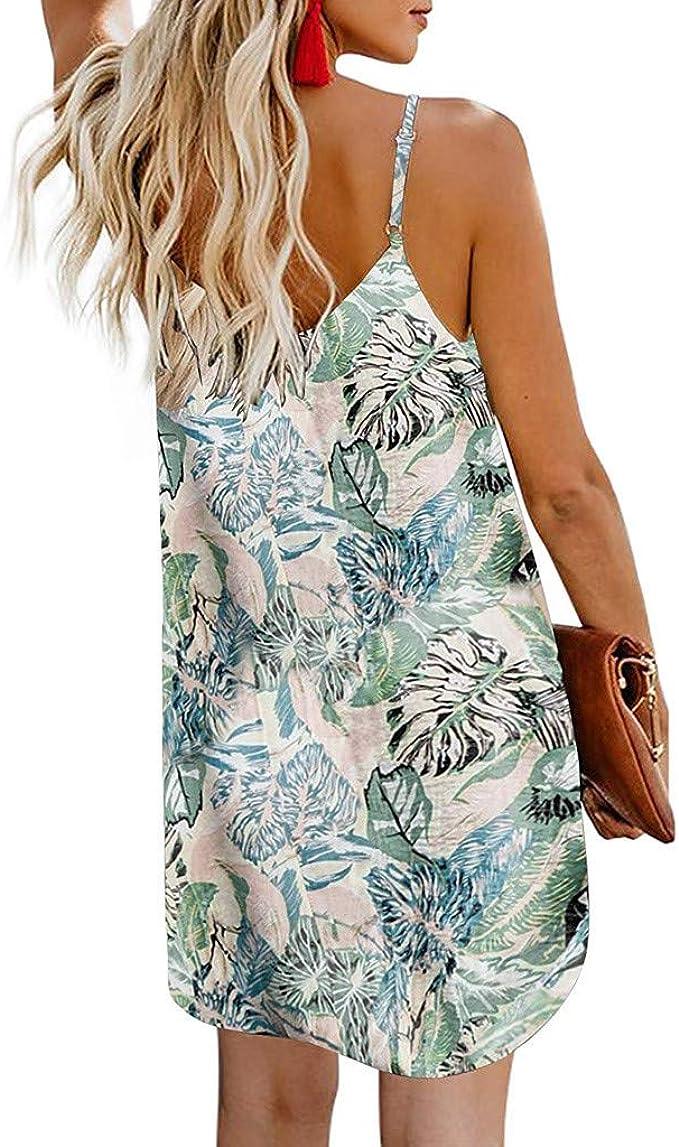 Femme Mode Été Mini Robe Floral Dentelle Robe à Bretelle Décontracté Slim Robe