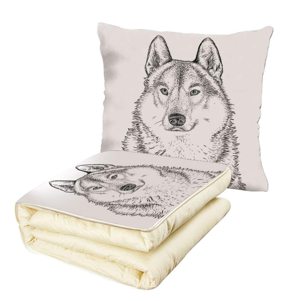 iPrint Quilt Dual-Use Pillow Animal Wildlife Woods Winter Animal Wolf Dog Sketchy Hand Drawn Image Artwork Print Multifunctional Air-Conditioning Quilt Black and White