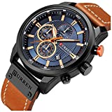 Mens Leather Strap Watches Stainless Steel Classic Casual Dress Waterproof Chronograph Date Analog Quartz Watch