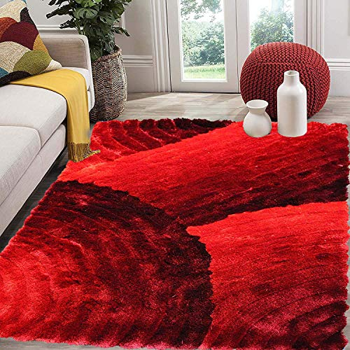 5x7 Furry Fuzzy Fluffy Shiny Shimmer Contemporary Modern Shag Shaggy Decorative Designer Quality Soft Plush 3D High Pile Plush Area Rug Carpet Living Room Bedroom Red Two Tone Color (SAD 280 Red)