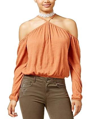 d42e382b38577 Amazon.com  American Rag Juniors  Cold-Shoulder Crop Top (Orange