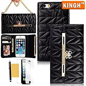 Quality iPhone 5S Case,iPhone 5 Wallet,KINGH(TM)Fashion Cute Gold Bow Design PU Leather 3-Folden Purse Wallet Case Cover With Cards/Money Holders & Beautiful Carrying Chains For Apple iPhone 5 5S,with Screen Protector,Cleaning Cloth and Touch Stylus(Black)