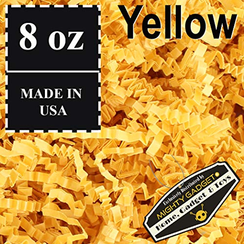 Mighty Gadget (R) 1/2 LB Yellow Crinkle Cut Paper Shred Filler for Gift Wrapping & Basket Filling]()