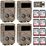 Cuddeback 4 20MP E3 Black Flash No Glow Infrared Trail Game Hunting Cameras + 8 Cards + Focus USB Reader