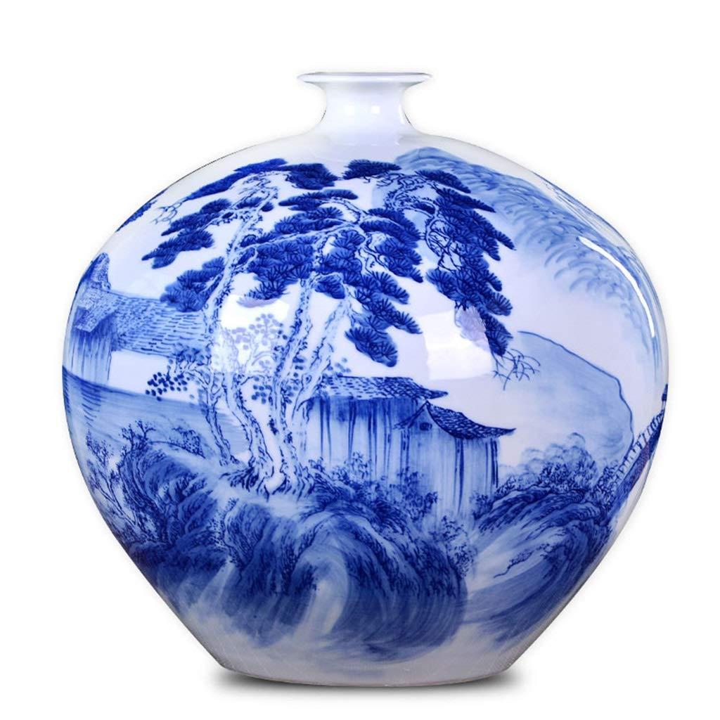 セラミック花瓶手描き青と白の磁器花瓶装飾家のリビングルームの装飾棚の装飾 B07SGQPZMS
