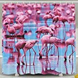 BINGO FLAG Funny Fabric Shower Curtain Pink Blue Flamingos Waterproof Bathroom Decor With Hooks 60 X 72 Inch