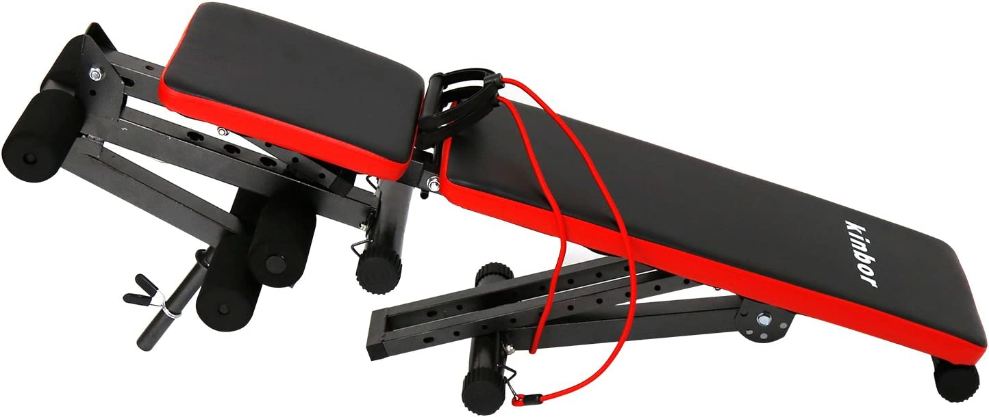 Peachtree Press Inc Adjustable Sit-up Bench Multi-Purpose Exercise Utility Bench Foldable Fitness Equipment for Full Body Workout