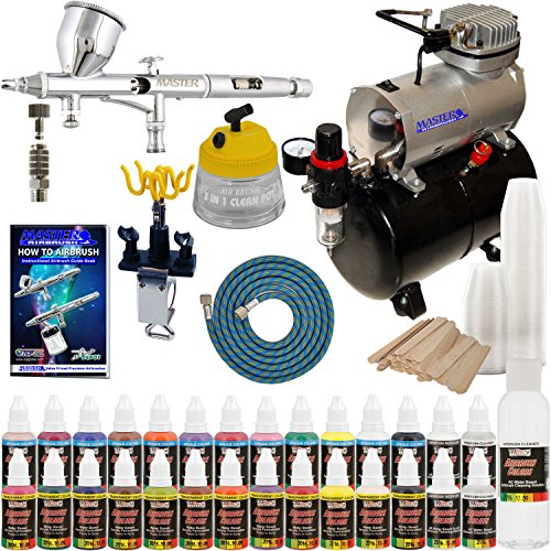 Complete Professional Airbrush System Kit with G44 Master Airbrush, Master Compressor TC-20T, 24 Color US Art Supply Paint Set with Reducer & Airbrush Cleaner, Accessories by Master Airbrush