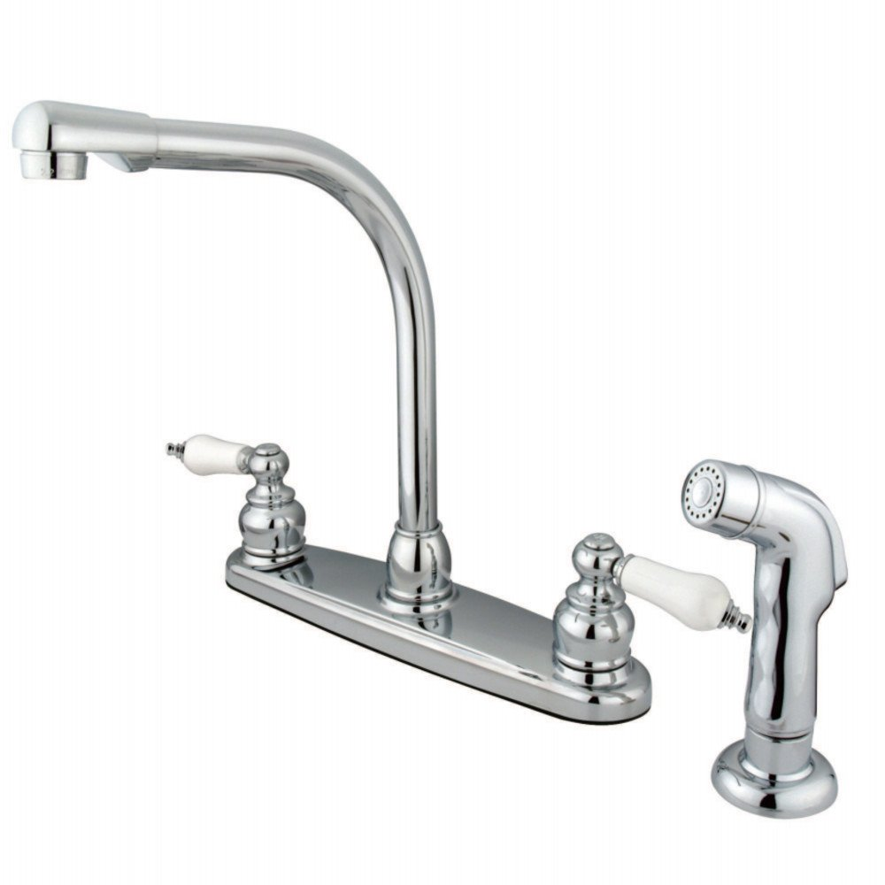 Oil Rubbed Bronze Kingston Brass GKB715SP Victorian 8-inch High Arch Kitchen Faucet with Sprayer