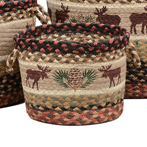 BLACK FOREST DECOR Moose & Pinecone Braided Utility Basket - Small