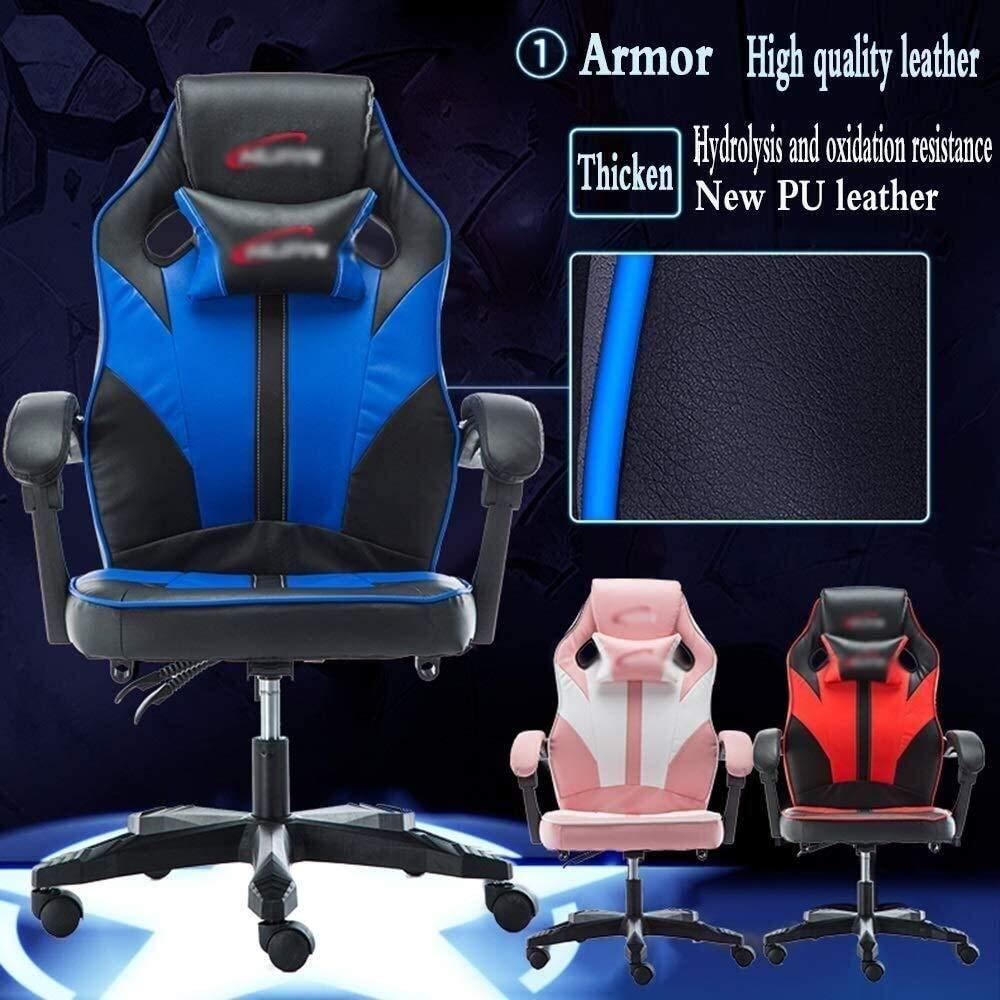 DBL stol dator kontorsstol avtagbar nackstöd länkad räcke lutning justering däckstol höjd justerbar bärvikt 200 kg skrivbordsstolar (färg: blå) BLÅ