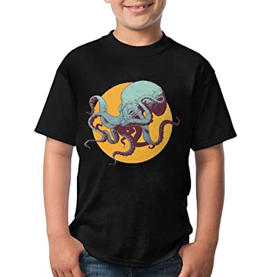 CHENLY Unisex T-Shirt Casual Octopus O-Neck Shirt For Children - Black