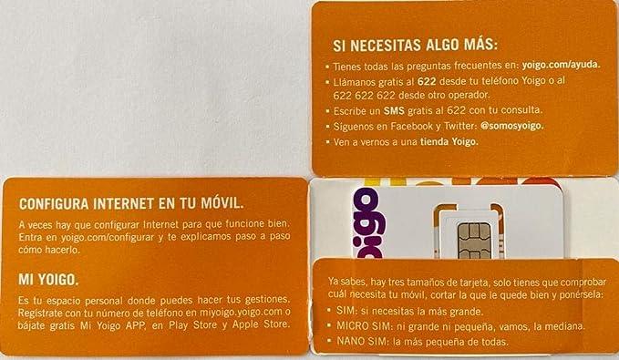 Tarjeta SIM Yoigo Prepago+ 6gb +200Minutos en Llamadas: Amazon.es: Electrónica