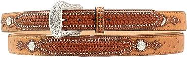Nocona ~OSTRICH Grain LEATHER BELT~ Silver Buckle Concho~ WESTERN  Cowboy N24918