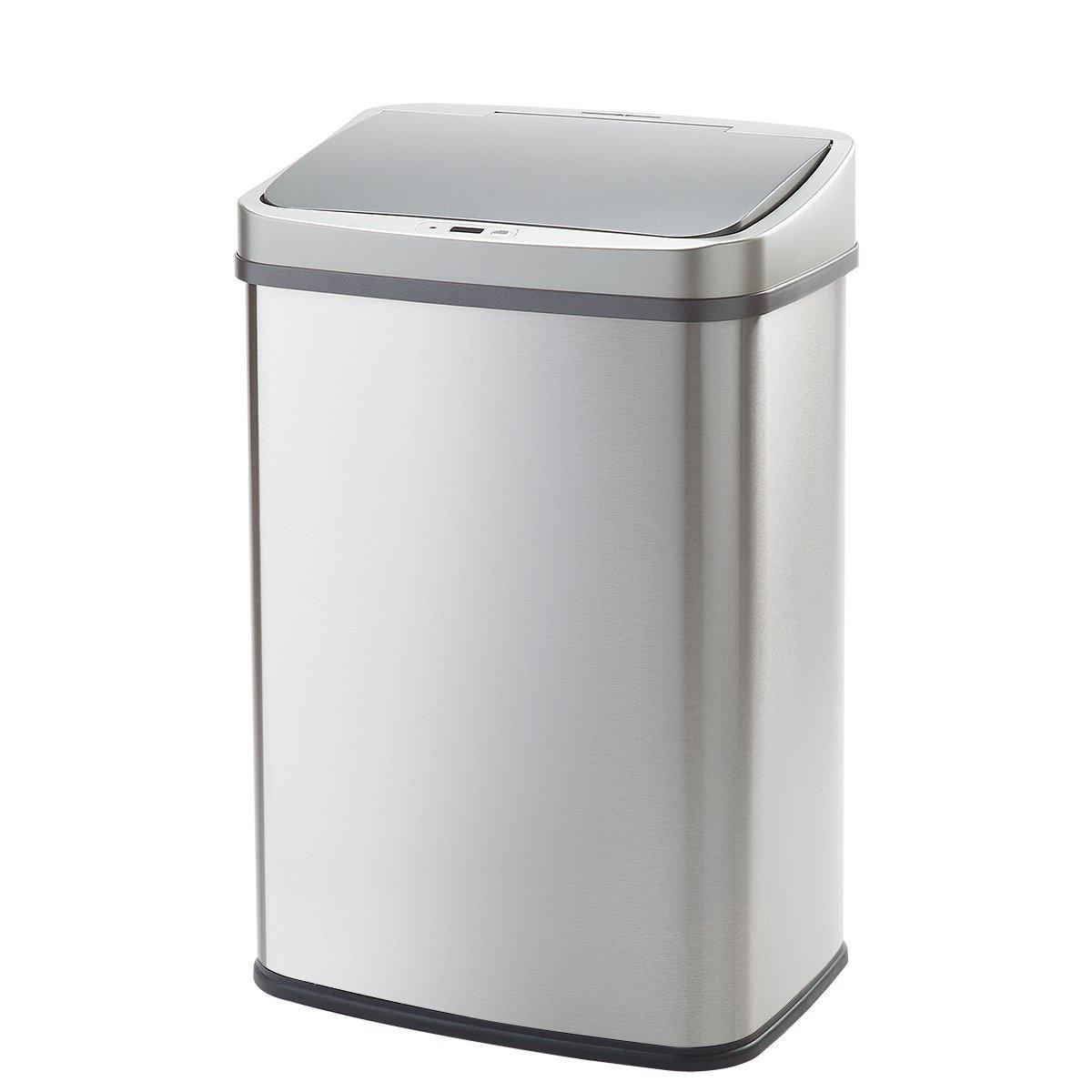 WY LIVING S 自動センサー式ゴミ箱 50リットル 分類シール付 ステンレス製 ふた付き 電池式 WY-HM007 B01NCAQSN6 50リットル 50リットル