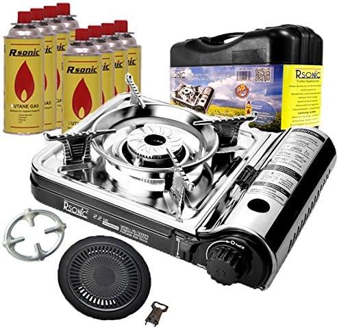 Hornillo de gas para camping RS-7000 Turbo + 8 cartuchos de gas + protector de cocina PH-T01 + placa de parrilla de 2 piezas [Color cromo/negro o ...