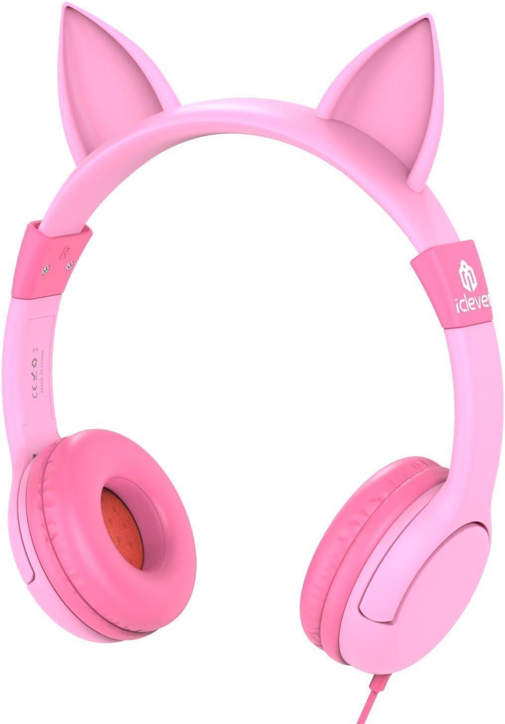 Auriculares para niños, iClever Volumen Limitado Cascos para niños sobre el oído Auriculares para bebés con diseño estéreo Ajustable Cat para Tablets iPhone iPad PC MP3, Regalos para niña, Rosa