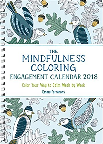 the mindfulness coloring engagement calendar 2018 color your way to calm week by week the mindfulness coloring series