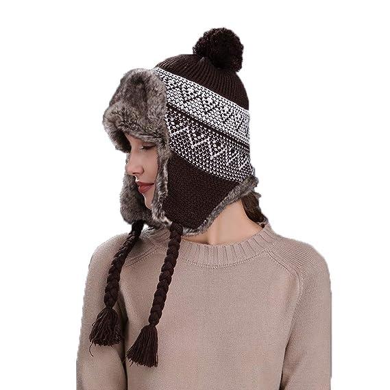 a8339b8de1e30 4 Ocean Damen Mütze Ski Hüte Frauen Wintermütze mit Ohrenklappen  Strickmütze Strickewolle Winter Beanie Cap Hut