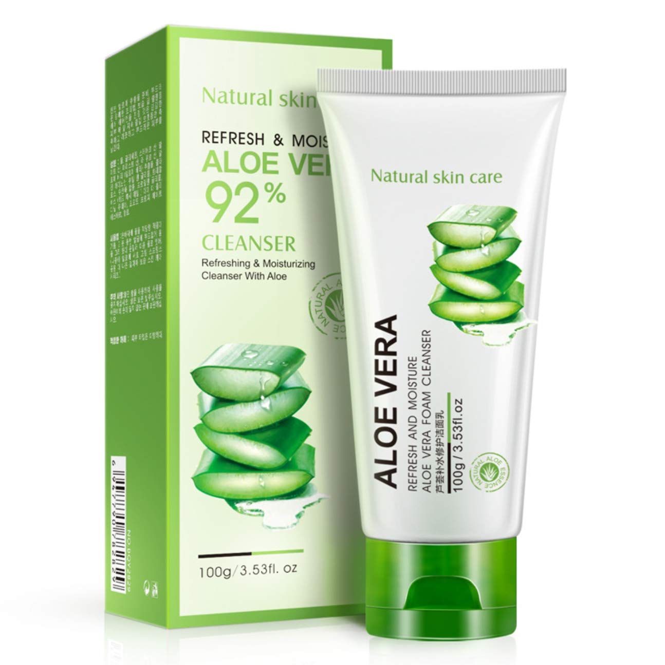 BIOAQUA 92% Aloe Vera Foam Cleanser - Refresh & Moisture Aloe Vera 92% Cleanser. Shrink Pores & Oil Control Deep Cleaning Face Cleanser.(100g)