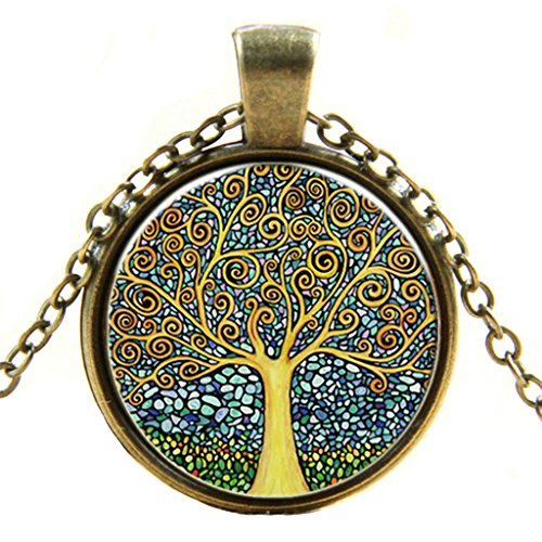 AmDxD Jewelry Vintage Time Stone Necklace Colorful Tree of Life Necklace Punk Short (Phiten X 30 Titanium Necklace)