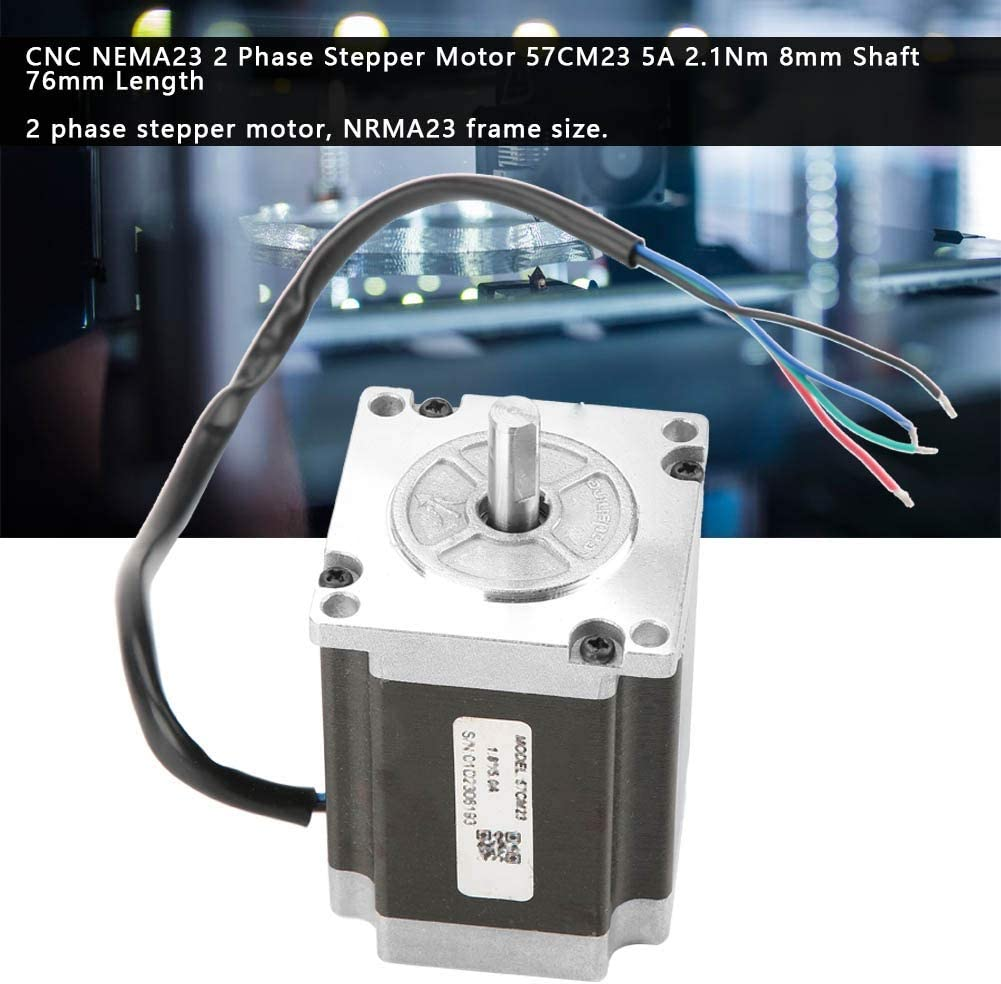 CNC NEMA23 2 Phase Stepper Motor 57CM23 5A 2.1Nm 8mm Shaft 76mm Length Stepper Motor