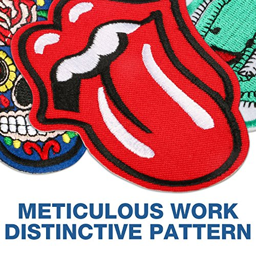 Iron On Patches, Muscccm 20 Pcs Embroidered Flowers Patches Applique Kit Assorted Size Decoration Sew On Patches for Clothing, Jackets, Backpacks, Jeans