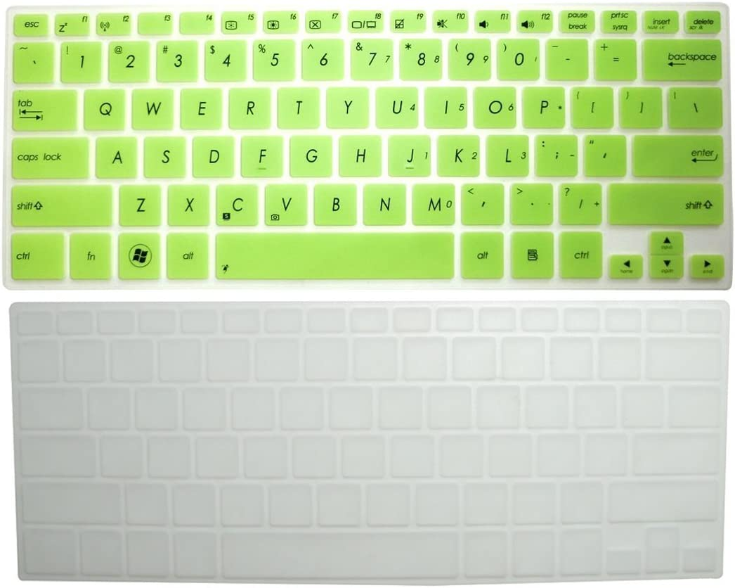 BingoBuy 2-Pack Ultra thin Silicone Keyboard Protector Skin Cover for ASUS X301 X301A Vivobook S300 S300CA S301LA S301LP V300CA Q301 Q301LA (Semi-Green + Clear if your enter key looks like 7, our skin cant fit