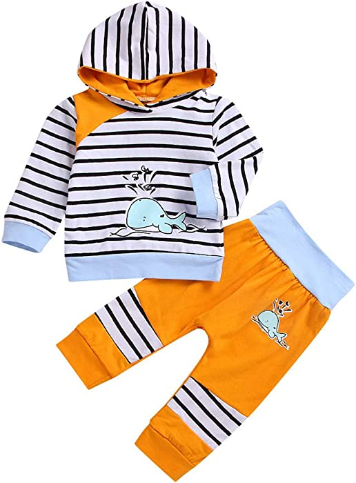 851c0ad44 Amazon.com: 0-4 Years Toddler Kids Clothes,Baby Boy Girl Hoodie Tops  Striped Pants Leggings Outfit Set (6-12 Months, White 2): Clothing