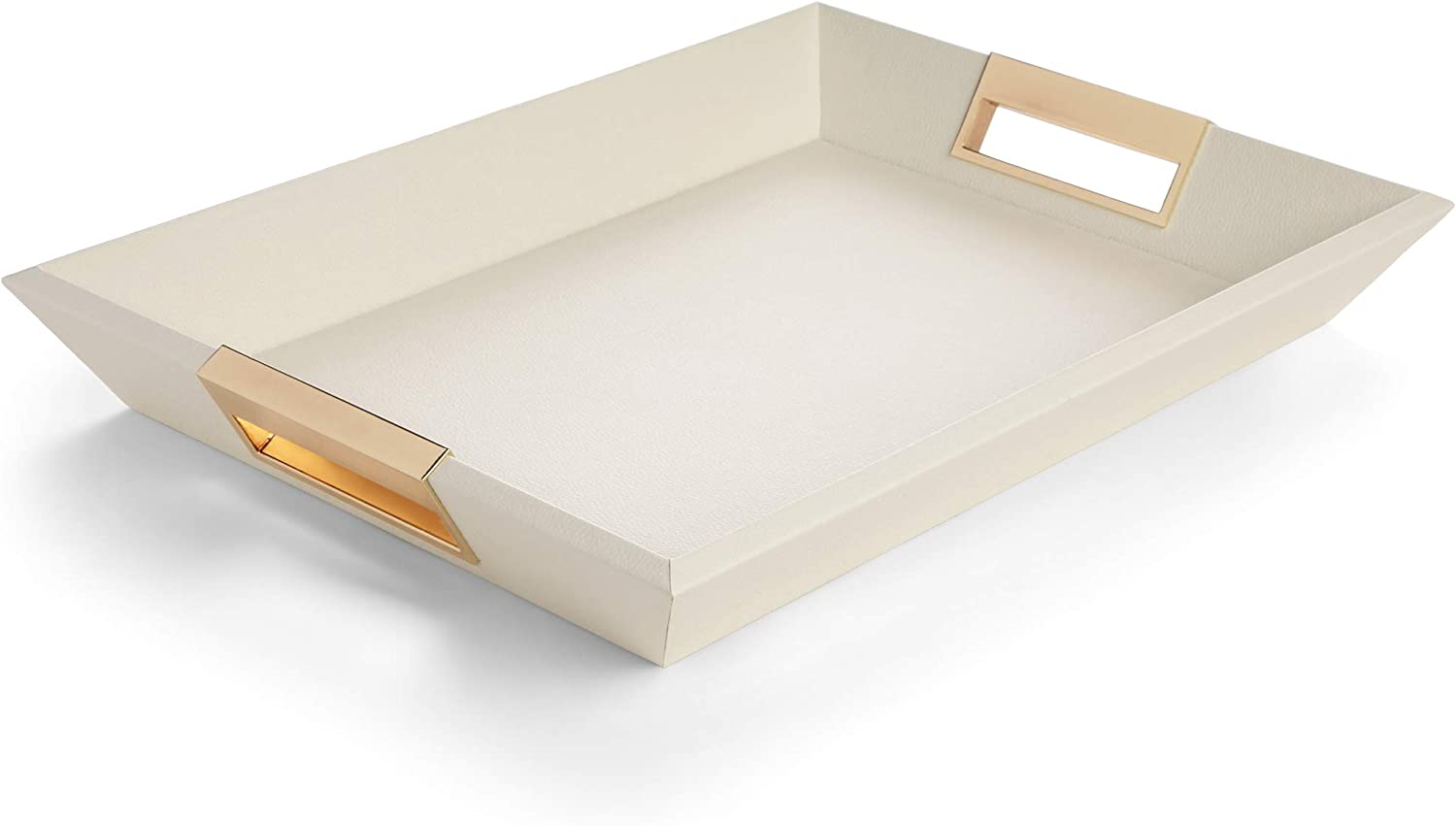 Decorative Wooden Serving Tray - Coffee Table Decor, Bed and Ottoman Tray to Serve Food and Tea, Dining Table Centerpieces - White Wood with Gold Metal Handles, Non-Scratch Velvet Bottom