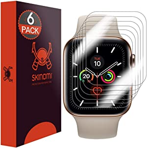 Skinomi Screen Protector Compatible with Apple Watch Series 5 (40mm)(6-Pack)(EZ Installation) Clear TechSkin TPU Anti-Bubble HD Film
