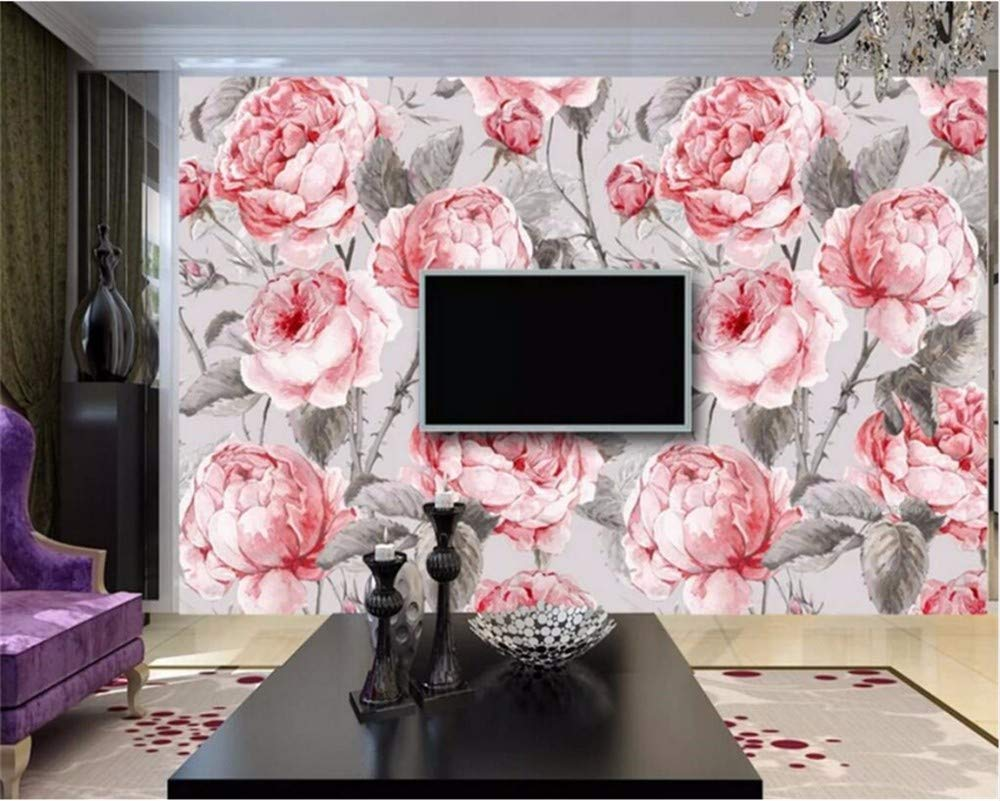 Weaeo カスタム壁紙の素朴なスタイルの水彩のバラのテレビの壁壁リビングルームベッドルームの壁画の壁画の3D壁紙-350X250Cm B07HB1N9SZ 350X250CM 350X250CM