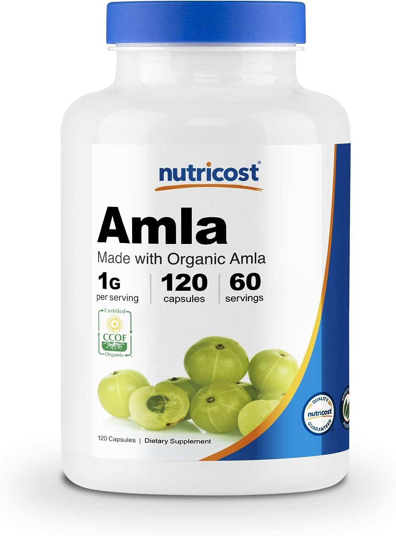 Nutricost Organic AMLA Capsules 1000mg, 60 Servings - Certified CCOF Organic, Vegetarian, Gluten Free, 500mg Per Capsule, 120 Capsules