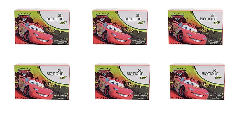 Pack of 6 - Biotique Disney Pixar Cars Nutty Almond Nourishing Soap for Kids - 75g by Biotique