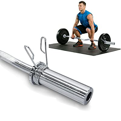 """Tricep bar Barbell Olympic 2/"""" with 2 X Spring Collars weight lifting training"""