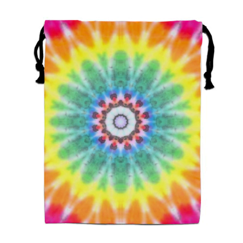 Rainbow Tie Dye Print Drawstring Portable Storage Shoe Outdoor Travel Bag Dustproof Gift Bags