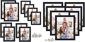 Giftgarden Black Picture Frames Set for Wall Hanging or Tabletop Dispaly, 7Pcs 8x10 Picture Frames Set,10 Pcs Multi Size Frame Set with Mat